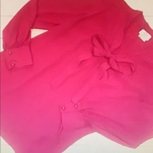 Kate Spade pink ruby bow blouse M